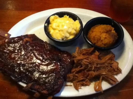 Sticky Fingers Ribhouse: 1/2 rack ribs w pulled pork, sweet potato casserole & creamy mac n cheese