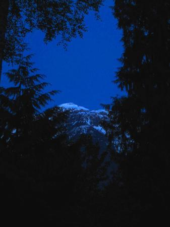 Adventurer's Guest House: View from room- moonlight on Mt Begbie