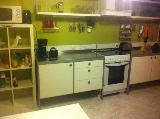 "Wine Hostel: kitchen with EVERYTHING you could possibly need and a ""free for all"" shelf"