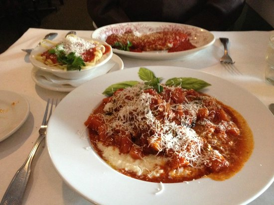 Roberto's Restaurant : Foreground: osso bucco. Background: veal parm.