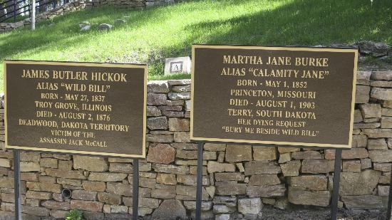 Mount Moriah Cemetery: Wild BIll and Calamity Jane info placards
