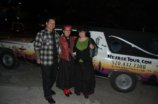 Old Bisbee Ghost Tours: Renee, the hearse, and us!