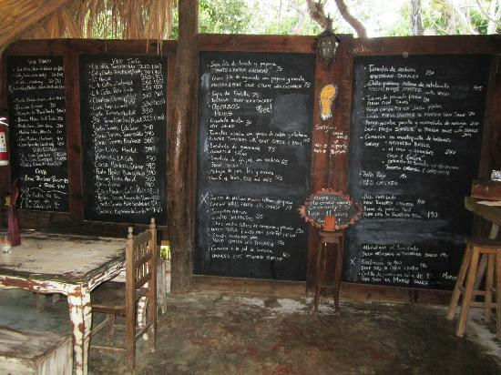 El Tabano: The menu on a large blackboard