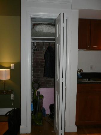 The Boston Christopher: Small closet.  Could have used some hooks by doorway.