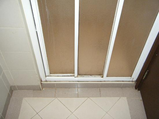 Crown Regency Serviced Suites: Filthy shower door - from outside shower