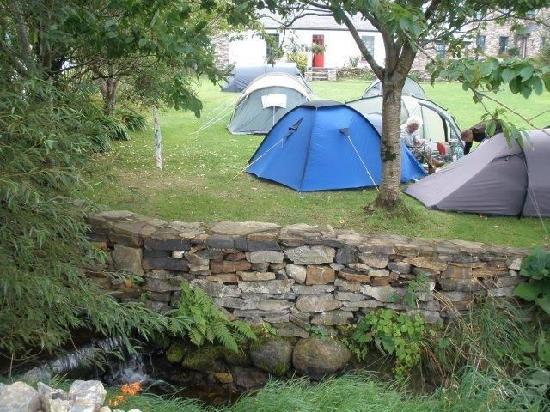Corcreggan Mill: Campers on our camping lawn, enjoying the soothing sounds of the Mill stream