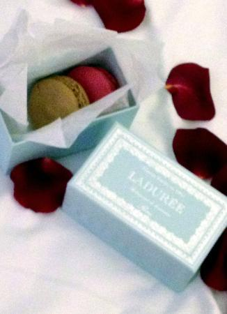 Champs Elysees Plaza Hotel: Junior Suite - rose petals and macaroons