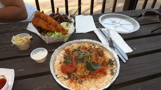 Eat 'n Meet Grill and larder: Walleye/fries basket and pork/tomato/rice