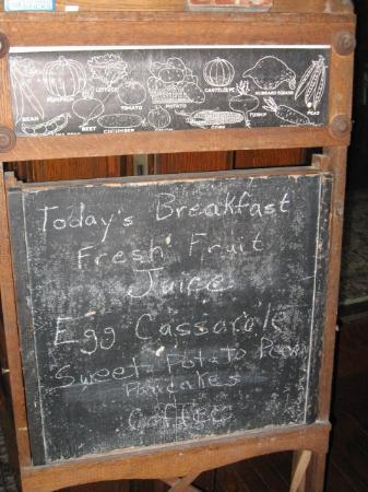 Cozy Koi Bed and Breakfast: Menu Board