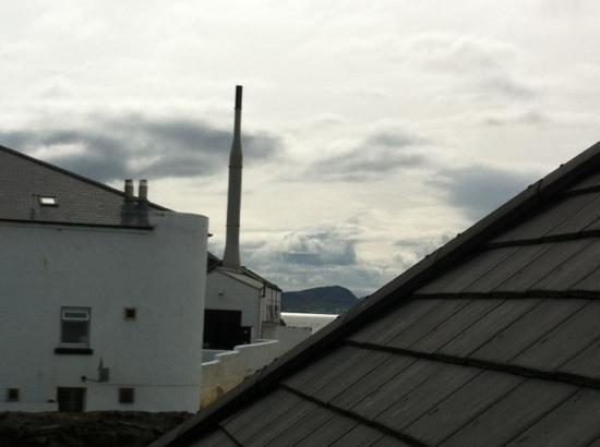 The Harbour Inn: A loo with a view! Bowmore's distillery.