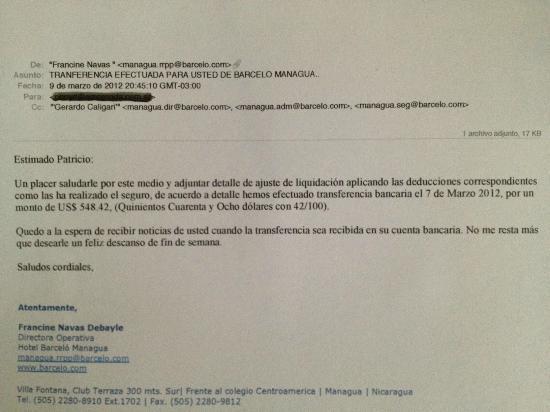 Barcelo Managua: La injusta reparación