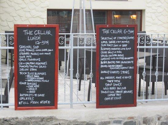 The Cellar: Chalkboard Menu