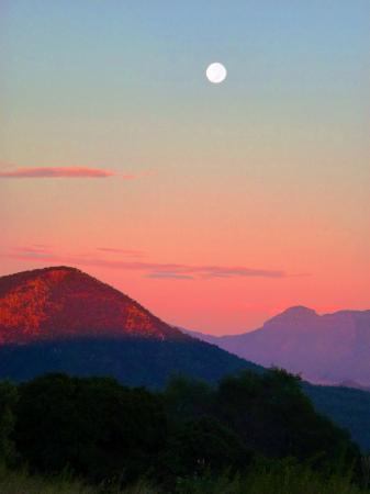 The Bunyip Scenic Rim Resort: moonset viewed from Bunyip Scenic Resort