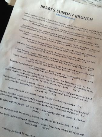 Inari's: Brunch menu