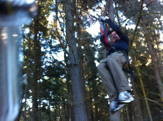 Adrenaline Forest: Enjoying the ride down the Flying Fox.