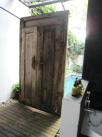 De Ubud Villas & Spa: Viewing out fromshower to pool