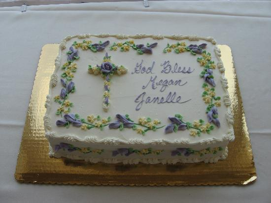J & S Watkins Homebaked Desserts: Our daughter's Baptism cake - 3 layer yellow cake w/ chocolate cream filling