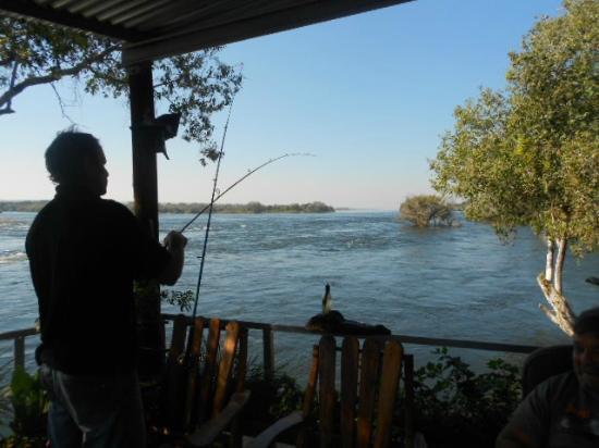 Nina Fishing Camp: Main Lodge Fishing from deck