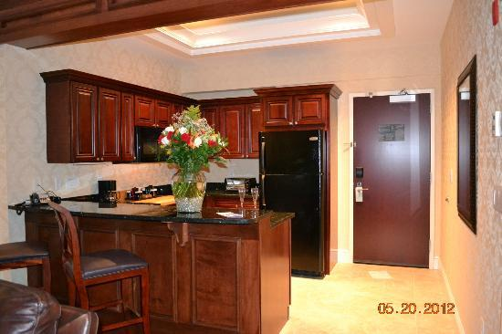 Hilton Garden Inn Bangor: presidential suite kitchen (with the flowers my husband got me)