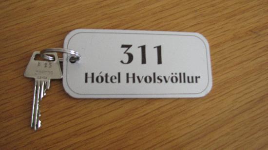 Hotel Hvolsvollur: Super-sized keychain on the key