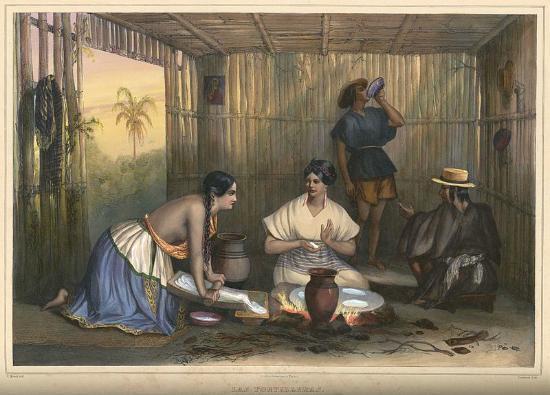 Museo de Arte Fundación Ortiz Gurdián: Preparando Tortillas en el metate-Nicaragua Colonial