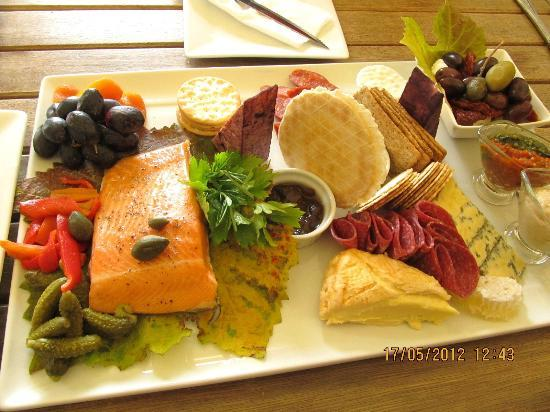 Gibbston Valley Cheese: $Aud65 cheese platter with delicious salmon which was shared between 8 of us altogether.