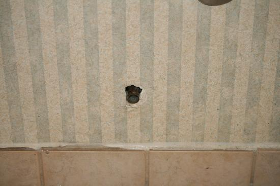 Centennial College Residence: broken rusty pipe sticking out of the wall in the bathroom