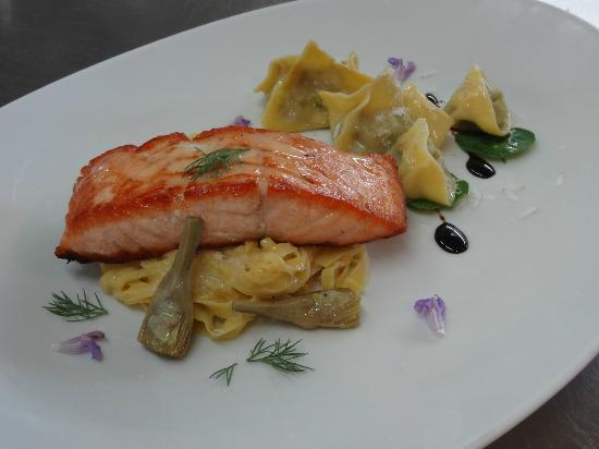 Cooking Class Project, Artichoke Ravioli and Pan-Seared Salmon with