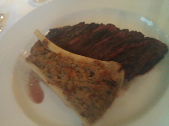 Hix Oyster & Chop House: Hanger Steak with Bone Marrow