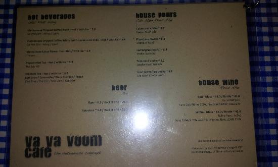 Va Va Voom Cafe: Ausriß aus der Karte