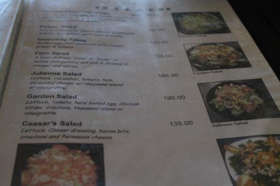 Bahay Bakasyunan Sa Camiguin : menu