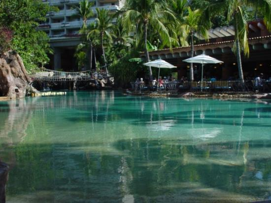 The salt water lagoon swimming pool early. At left Chula ...