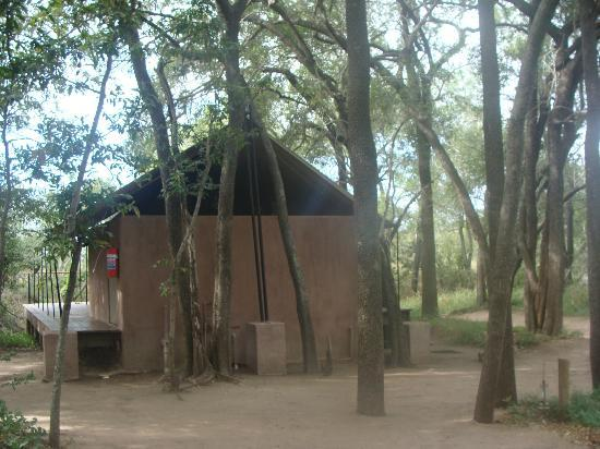 Honeyguide Khoka Moya & Mantobeni Camps: Rear view of tent, note open air bathroom allows the freezing air in at night