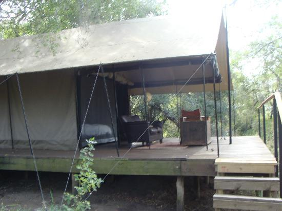 Honeyguide Tented Safari Camps: Entry to tent via rickety staircase