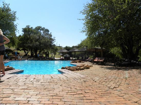 Mabalingwe Nature Reserve: One of the main swimming pool areas close to the room