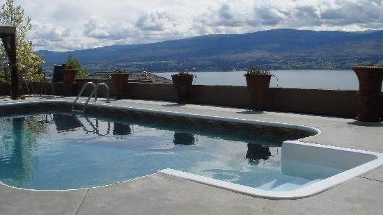Bella Luna bed and breakfast: Salt water pool overlooks Okanagan Lake