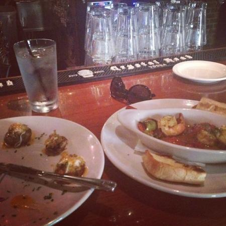 Cafe Alma: spicy shrimp and stuffed mushrooms