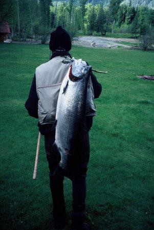 Tweedsmuir Park Lodge & Bear Viewing: Salmon fishing at Tweedsmuir Park Lodge. Photo: Mike Wigle