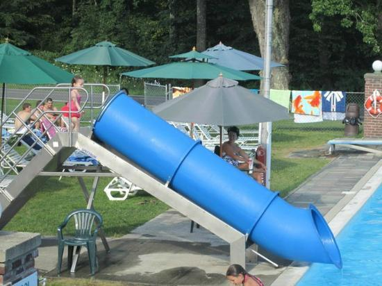 Baumann's Brookside: pool slide - view from the pool motel