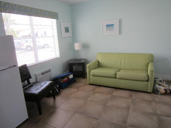 هوليوود بيتشسايد بوتيك سويتس: Living room with pull out love seat