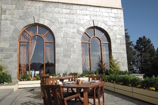 Wildflower Hall, Shimla in the Himalayas: Back of restaurant