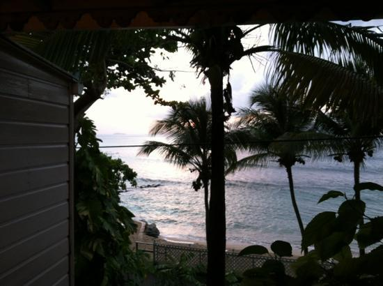 The Sugar Mill Restaurant: View from the bar. Imagine the sounds, and the breeze.