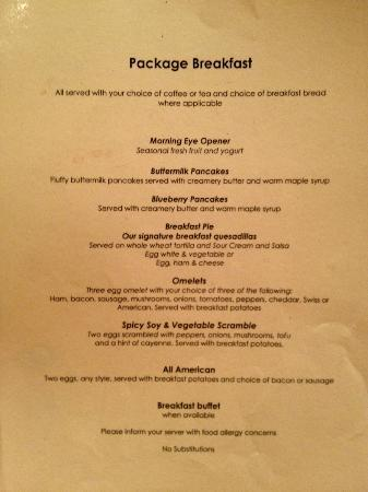"Four Points by Sheraton Asheville Downtown: ""Package Breakfast Menu"""