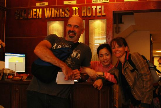Golden Wings II Hotel: Us and our lovely staff