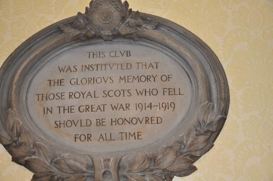 The Royal Scots Club: Plaque