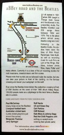 Abbey Road : A map/brochure given to me from the Beatles Coffee Shop @ St. John's Wood tube station.