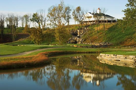 Blue Ridge Shadows Golf Club Clubhouse with Waterfall