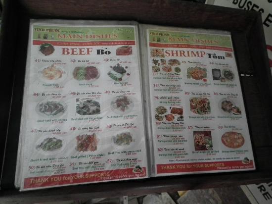 Vinh Phuoc Restaurant: Speisekarte 1