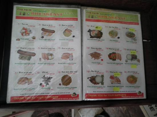 Vinh Phuoc Restaurant: Speisekarte 2