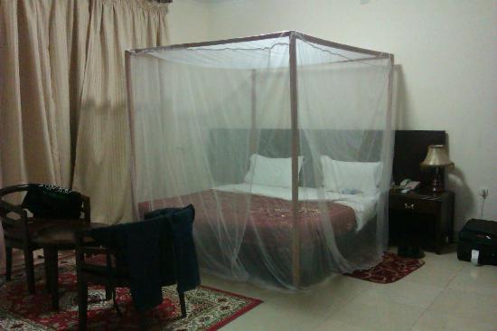 Hotel Le Chandelier: Double bed, Mosquito Net, Furniture...